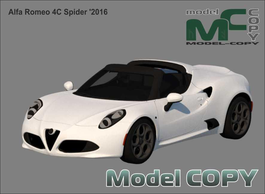 Alfa Romeo 4C Spider '2016 - 3D ಮಾದರಿ