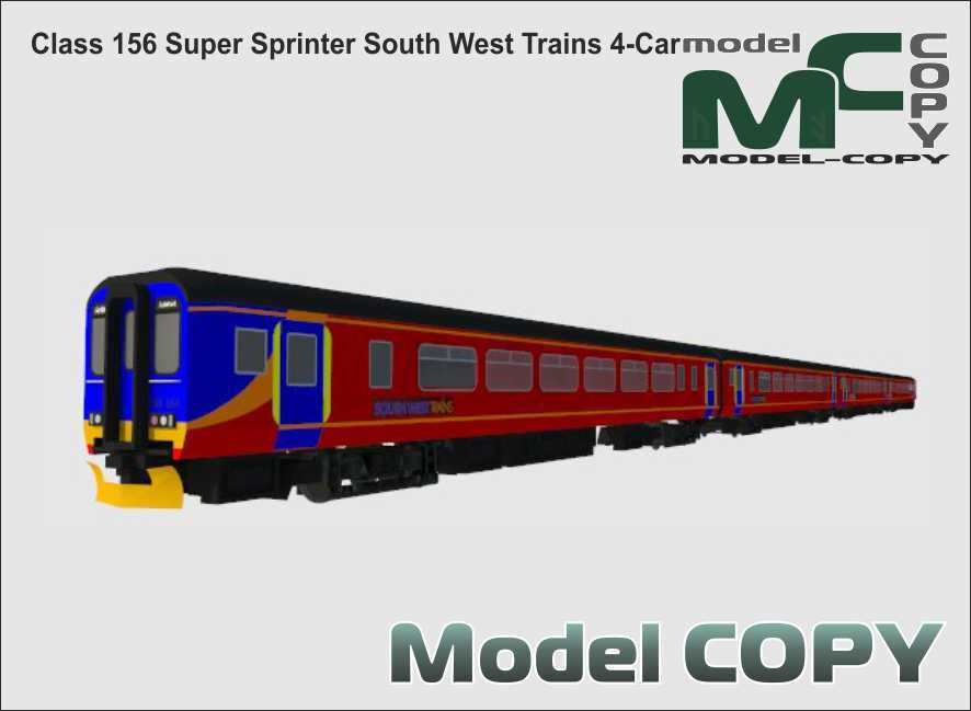 Class 156 Super Sprinter South West Trains 4-Car - 3D Model