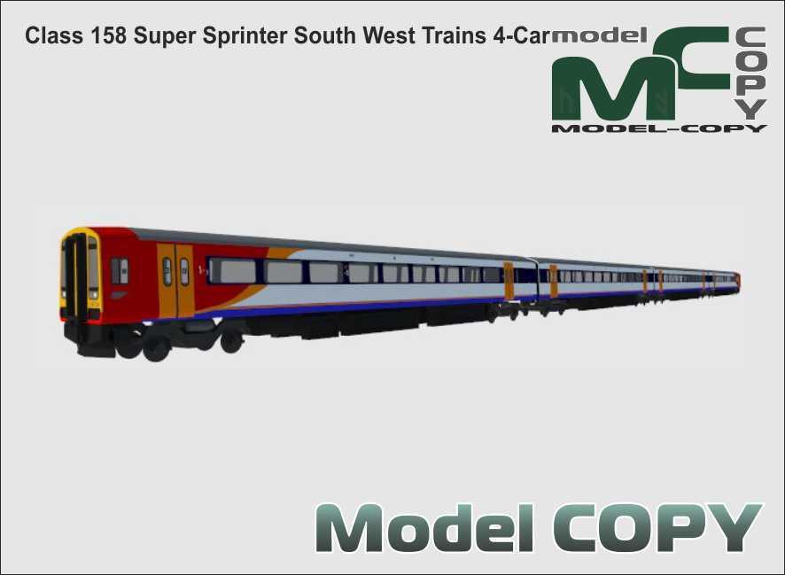 Class 158 Super Sprinter South West Trains 4-Car - 3D Model