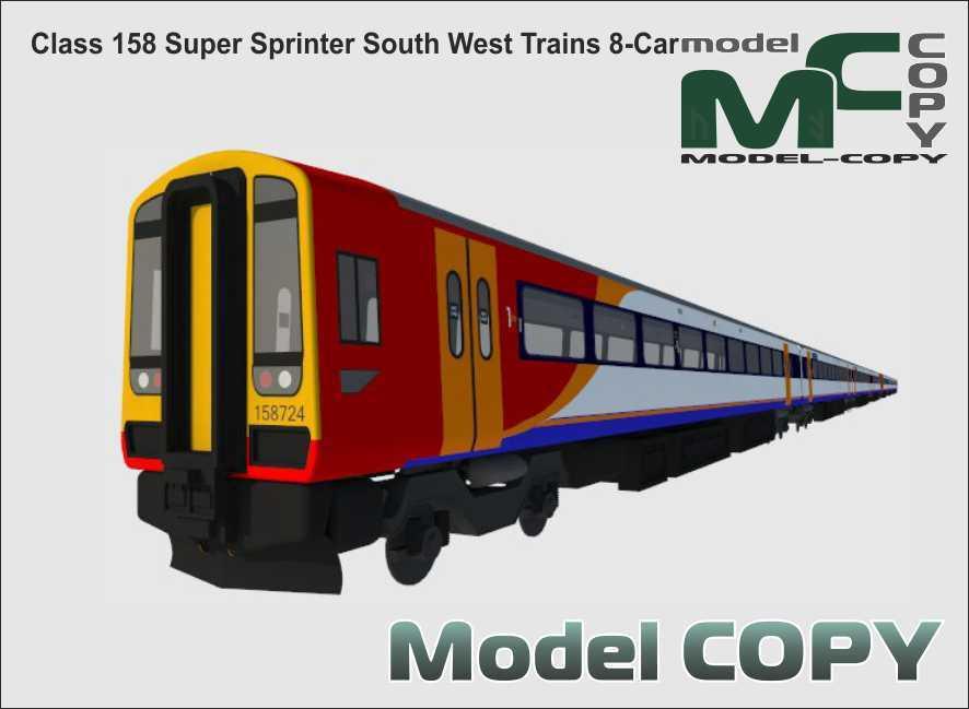 Class 158 Super Sprinter South West Trains 8-Car - 3D Model