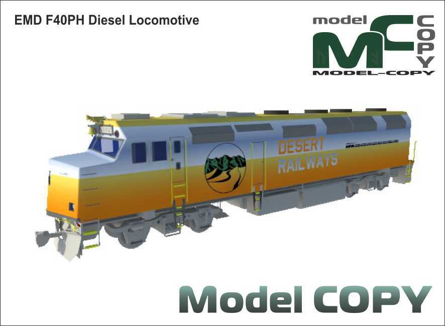 EMD F40PH Diesel Locomotive - 3D Model