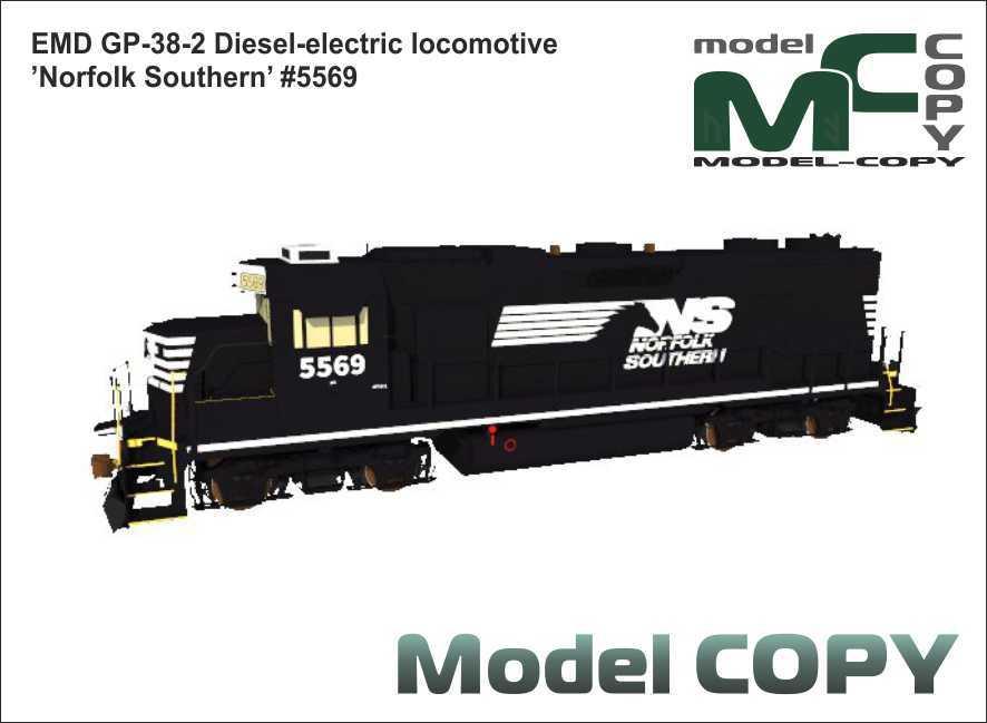 EMD GP-38-2 Diesel-electric locomotive 'Norfolk Southern' #5569 - 3D Model