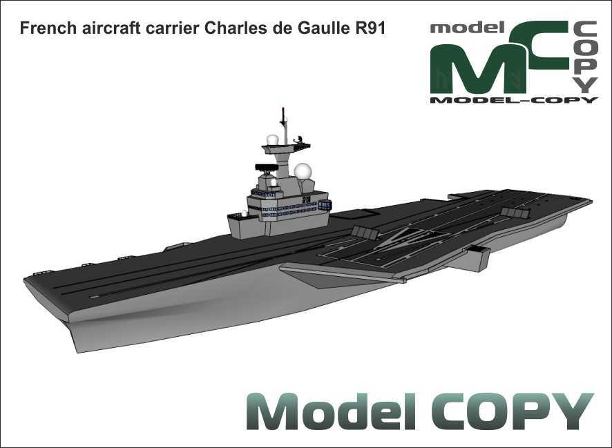 French aircraft carrier Charles de Gaulle R91 - 3D Model