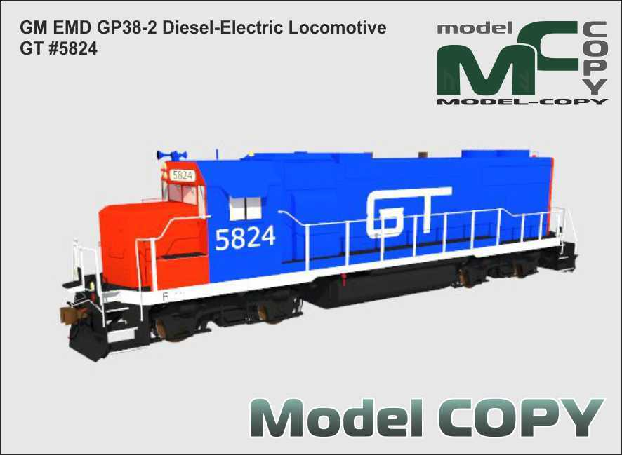 GM EMD GP38-2 Diesel-Electric Locomotive GT #5824 - 3D Model