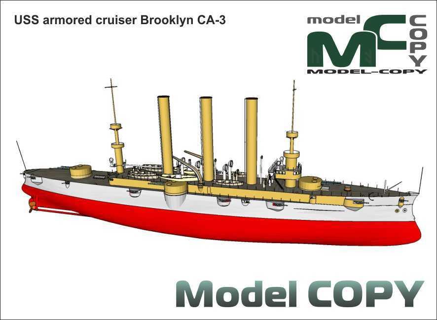 USS armored cruiser Brooklyn CA-3 - 3D Model