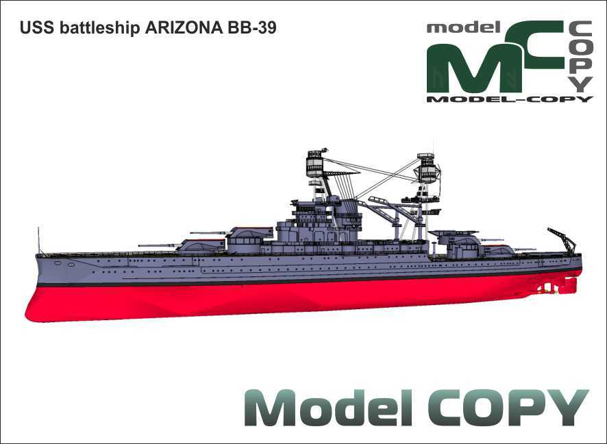 USS battleship ARIZONA BB-39 - 3D Model