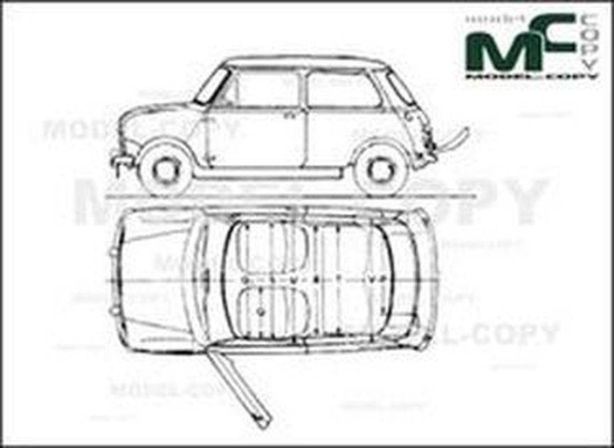Austin Mini Mk I Hatchback 1959 чертеж 24648 Model Copy