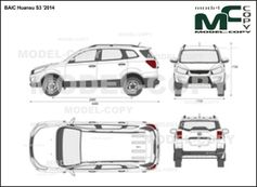 BAIC Huansu S3 '2014 - 2D drawing (blueprints)