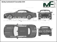 Bentley Continental GT Convertible '2019 - 2D drawing (blueprints)