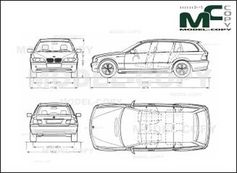 bmw 3 series e46 touring - drawing - 30173