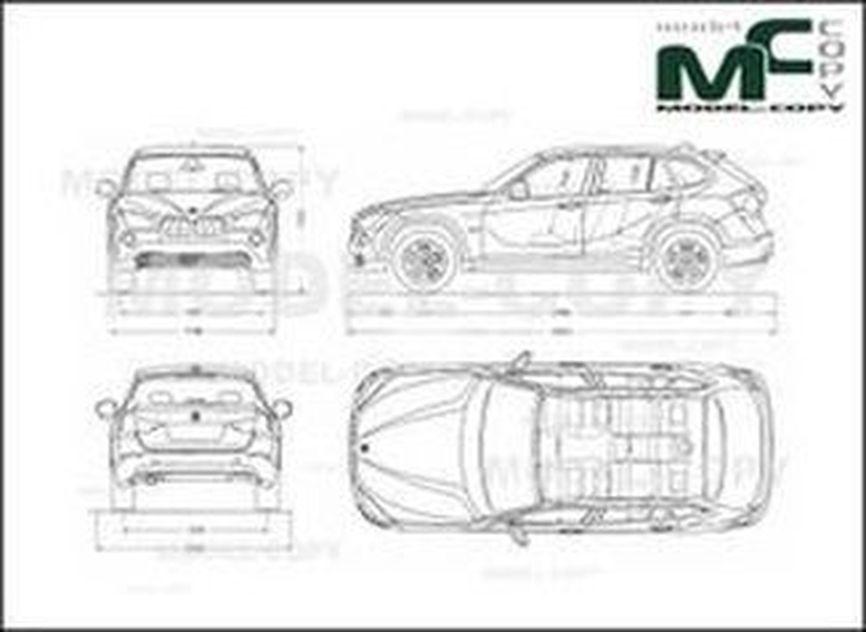 BMW X1 (2009) - 2D drawing (blueprints)
