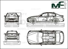 BMW 3 Series Sedan '2014 - 2D drawing (blueprints)