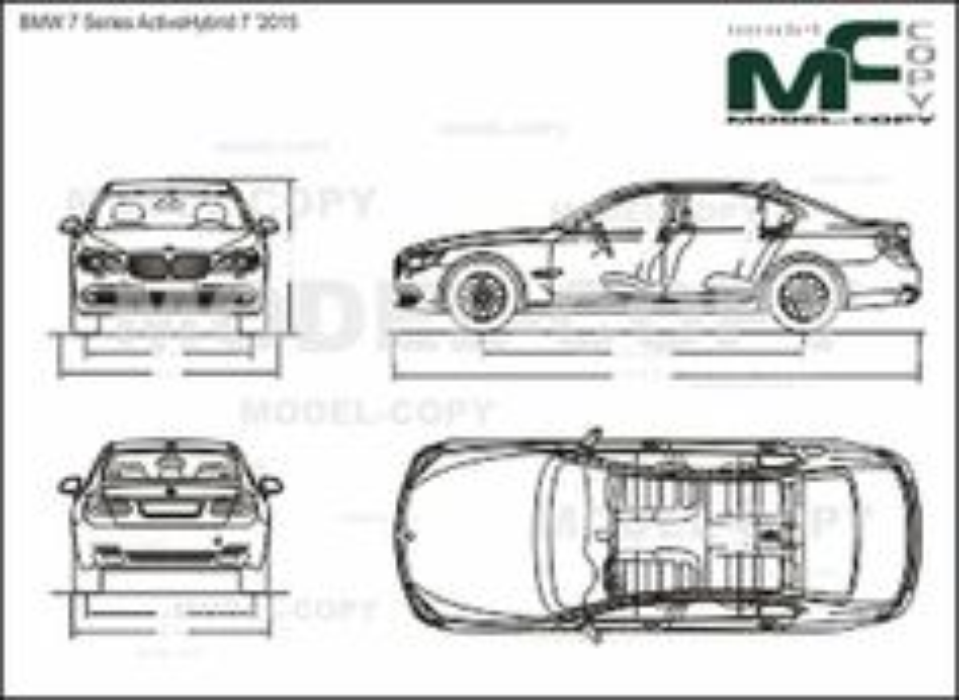 BMW 7 Series ActiveHybrid 7 '2015 - 2D drawing (blueprints)