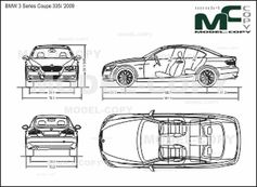 BMW 3 Series Coupe 335i '2009 - 2D drawing (blueprints)