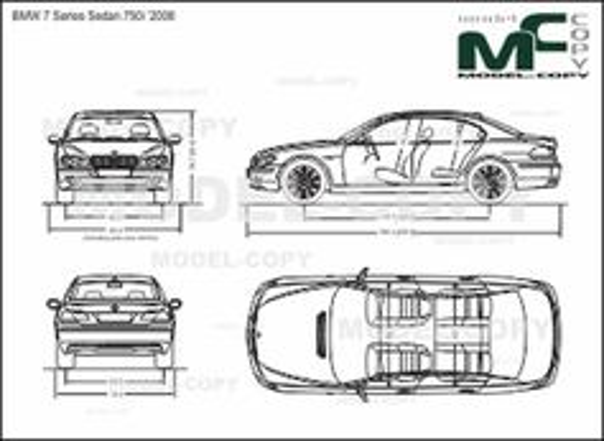 BMW 7 Series Sedan 750i '2008 - 2D drawing (blueprints)