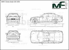 BMW 3 Series Sedan 330i '2004 - 2D drawing (blueprints)