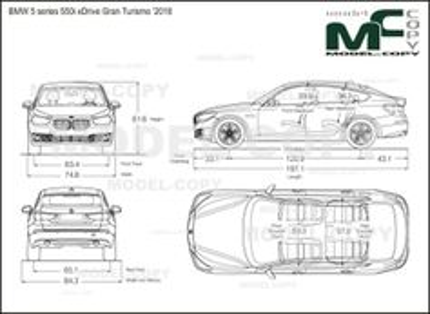 BMW 5 series 550i xDrive Gran Turismo '2018 - drawing