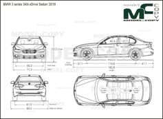 BMW 3 series 340i xDrive Sedan '2018 - drawing