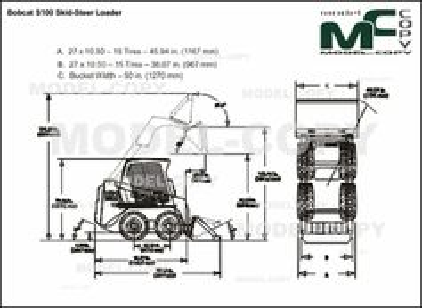 Bobcat S100 Skid-Steer Loader - 2D drawing (blueprints)