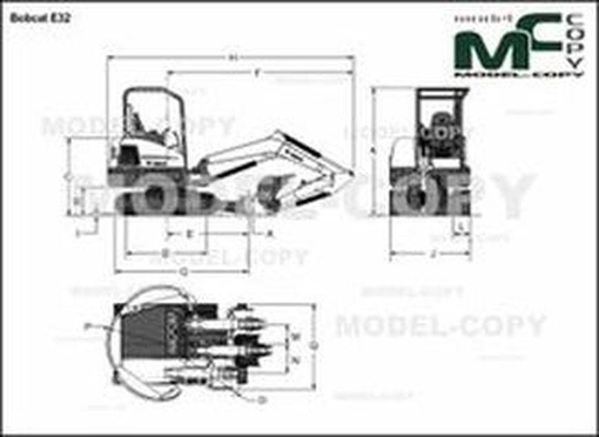 Bobcat E32 - 2D drawing (blueprints)