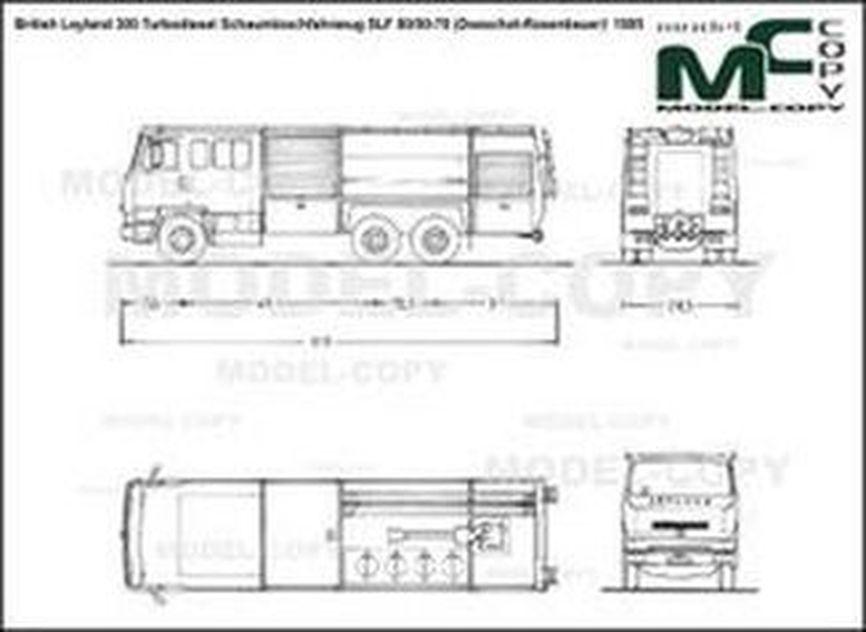 British Leyland 300 Turbodiesel Schaumloschfahrzeug SLF 80/00-70 (Doeschot-Rosenbauer)' 1985 - 2D drawing (blueprints)