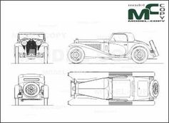 Bugatti T-55 Coupe (1935) - 2D drawing (blueprints)