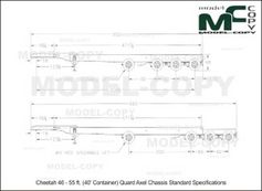 Cheetah 46 - 55 ft. (40' Container) Quard Axel Chassis Standard Specifications - 2D kresba