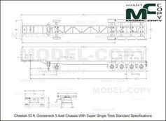 Cheetah 53 ft. Gooseneck 5 Axel Chassis With Super Single Tires Standard Specifications - drawing