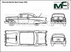 Chevrolet Bel-Air Sport Coupe (1956) - 2D drawing (blueprints)