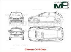Citroen C4 4-Door - 2D drawing (blueprints)