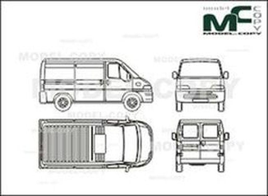 citroen jumper box car  closed - dessin 2d - 25841
