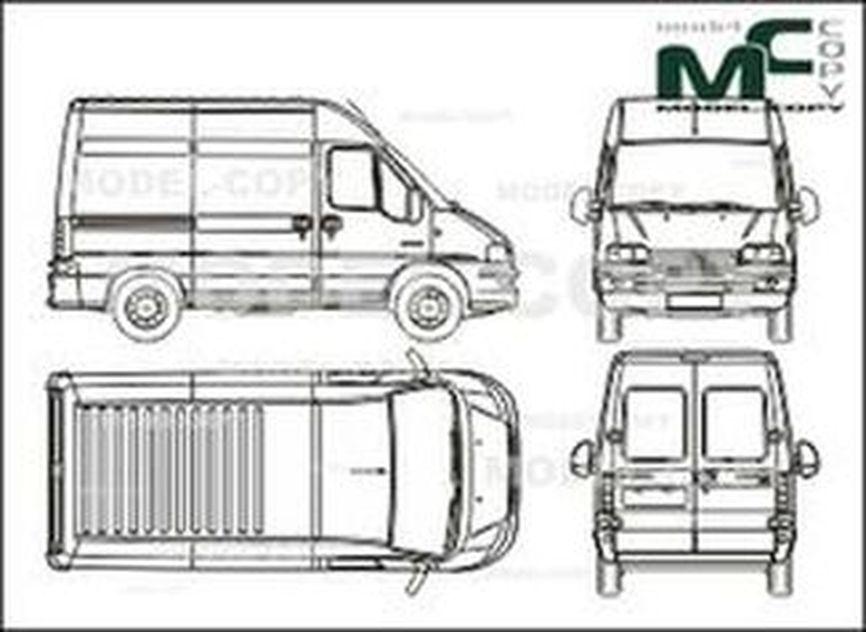 Citroen Jumper box, 29 CH / 33 CH,wheelbase short, high roof, 2 sliding doors (2002) - drawing