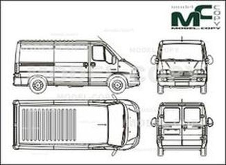Citroen Jumper box, 29 M / 33 M, medium wheelbase, rear window (2002) - 2D drawing (blueprints)