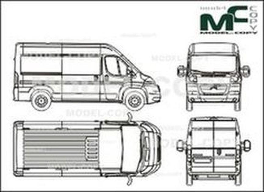Citroen Jumper box, L2H2, medium wheelbase, 1 sliding door (2006) - drawing