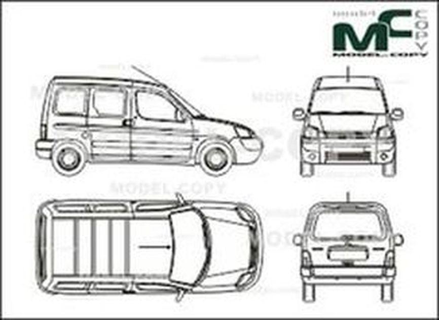 Citroen Berlingo Сombi, tailgate (2004) - 2D drawing (blueprints)