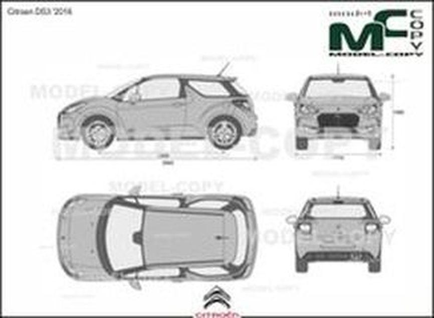 Citroen DS3 '2016 - 2D drawing (blueprints)