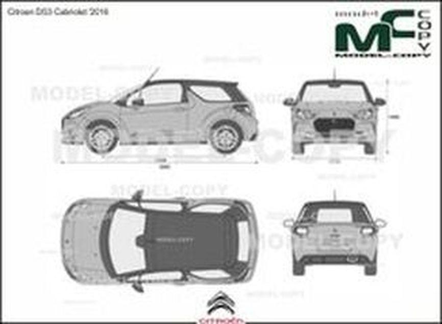 Citroen DS3 Cabriolet '2016 - 2D drawing (blueprints)