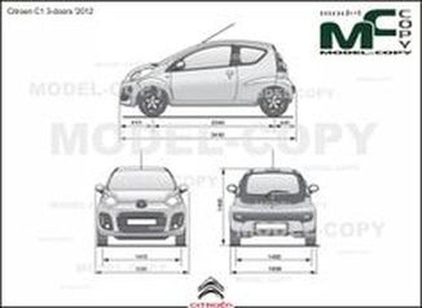 Citroen C1 3-doors '2012 - 2D drawing (blueprints)