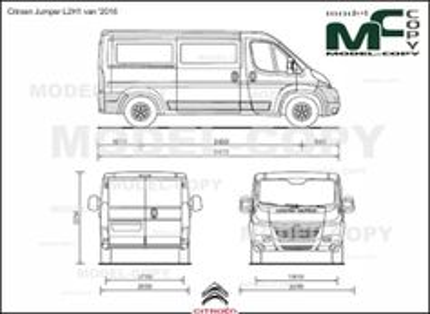 Citroen Jumper L2H1 van '2016 - 2D drawing (blueprints)