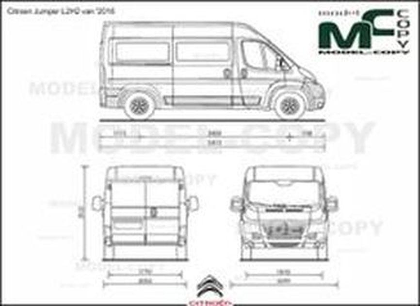 Citroen Jumper L2H2 van '2016 - 2D drawing (blueprints)