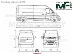 Citroen Jumper L3H2 double cab '2016 - 2D drawing (blueprints)
