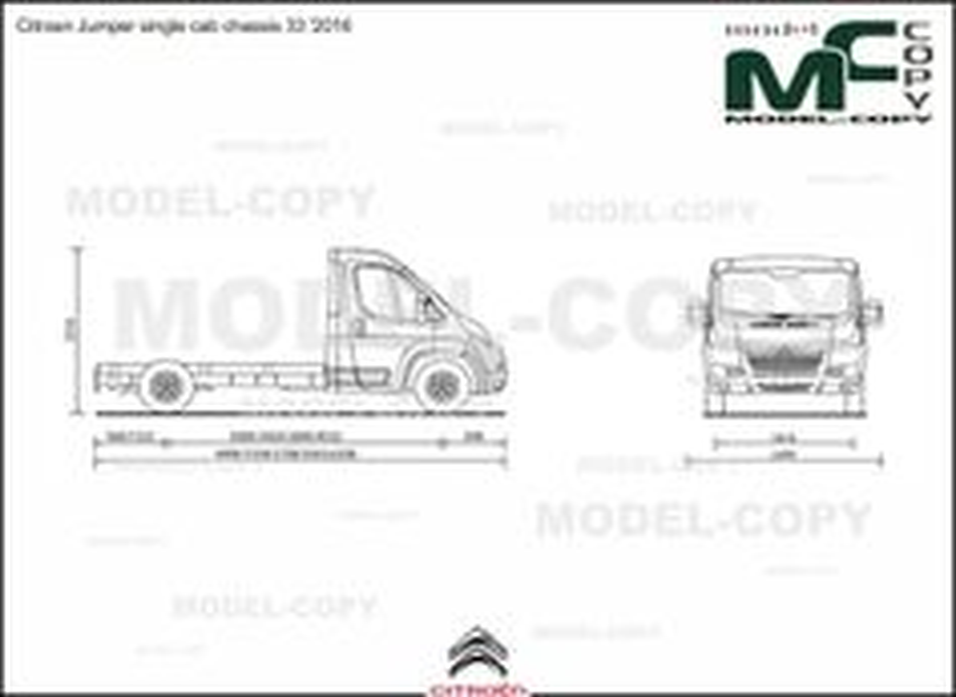 Citroen Jumper single cab chassis 33 '2016 - 2D drawing (blueprints)