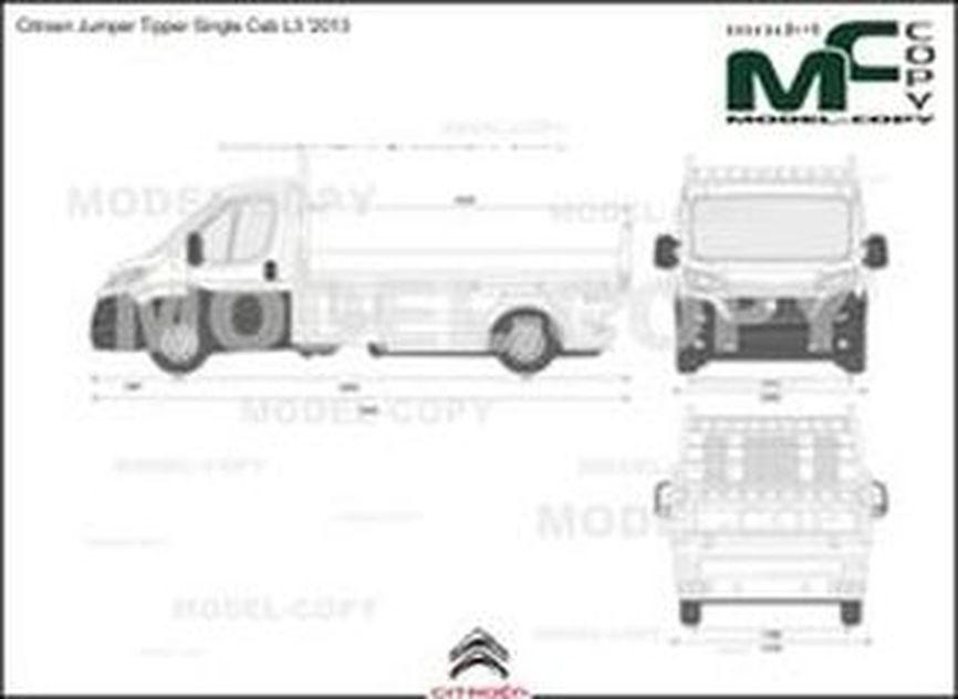 Citroen Jumper Tipper Single Cab L3 '2013 - 2D drawing (blueprints)