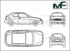 Daewoo Lanos In 3 Door Execution Drawing 25684 Model