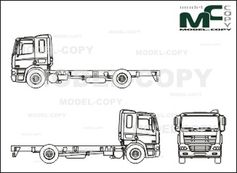 DAF CF 65/75/85, CHASSIS, high,  Highway Driver's cab - 2D drawing (blueprints)
