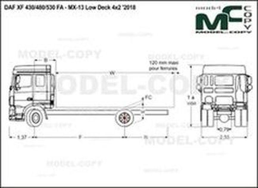 DAF XF 430/480/530 FA - MX-13 Low Deck 4x2 '2018 - drawing