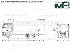 DAF XF 450 FAS-MX-11 Comfort Cab - Space Cab 6x2 '2018 - drawing