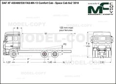 DAF XF 430/480/530 FAS-MX-13 Comfort Cab - Space Cab 6x2 '2018 - drawing
