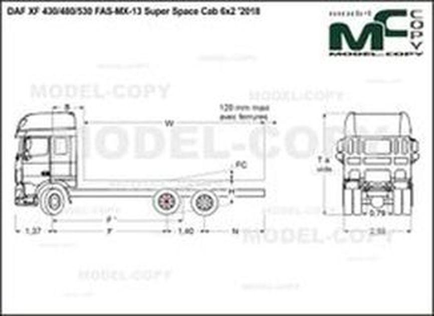 DAF XF 430/480/530 FAS-MX-13 Super Space Cab 6x2 '2018 - drawing