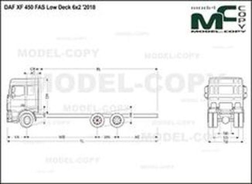 DAF XF 450 FAS Low Deck 6x2 '2018 - drawing